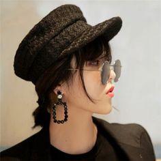 67f12e1a8fc Plain black greek fisherman hat for women vintage wool baker boy cap winter  wear
