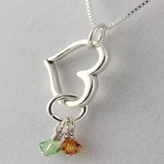 Open Heart Birthstone Necklace $42