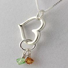 Open Heart Birthstone Necklace $42