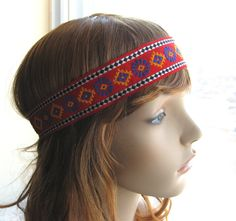 Ethnic Woven Trim Tribal Head Band, Flowerchild Headband, Bohemian Hippie Hairband, Boho Chic, Festival Hair Accessories #ethnic #woven #hippie #headband
