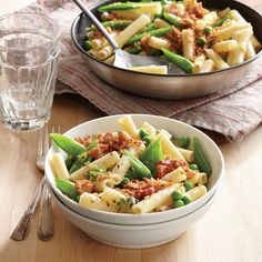Two-Pea Pasta with Bacon Breadcrumbs.You can use any short pasta in place of the ziti.