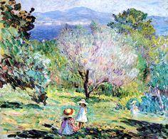 Girls in a landscape in Cannes Henri Lebasque - circa 1907