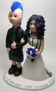 Cute Punk wedding cake topper