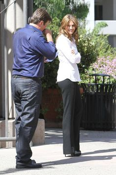Nathan Fillion and Stana Katic Share a Laugh on the Set of Castle Season 5