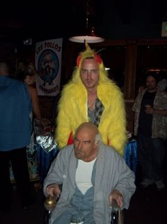 Breaking Bad. Aaron Paul and Bryan Cranston dressed in costume. Love them together