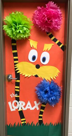 The Lorax Dr. Seuss classroom door The Lorax Dr. Dr. Seuss, Dr Seuss Day, Dr Seuss Lorax, Dr Suess Door Decorations, School Door Decorations, Door Decoration For Preschool, Camping Decorations, The Lorax, Dr Seuss Bulletin Board