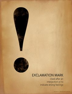 Hey, I found this really awesome Etsy listing at https://www.etsy.com/listing/232111753/exclamation-mark-writing-punctuation-and Exclamation Mark, Copy Print, Punctuation, Fine Art Paper, Grammar, Word Nerd, Shakespeare, Poster Prints, Devil