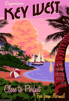 Experience+Key+West+Florida+United+States+America+Travel+Advertisement+Poster++#Vintage