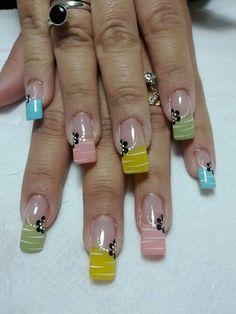 Uñas Nail Tip Designs, Easter Nail Designs, Colorful Nail Designs, Daisy Nails, Flower Nails, Fabulous Nails, Gorgeous Nails, Nagellack Design, Crazy Nails