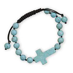 Magnesite Bead Bracelet with Sideways Magnesite Cross by Salerno's Jewelry Stores on Opensky