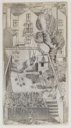 London Backyard, Cat On The Fence Engraving, Edward Bawden, Landscape Drawings, Art Drawings, Landscapes, Royal College Of Art, Online Art Gallery, Cat Art, Printmaking, Illustrators, Contemporary Art