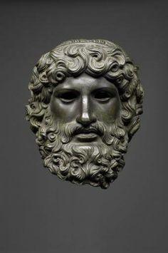 Roman bronze head of Jupiter, 50 CE.