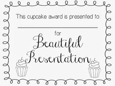Cupcake Wars YW Activity- Printable certificates!