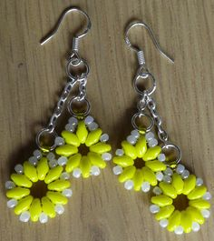 Yellow Beaded Earrings on 925 Stamped Hooks