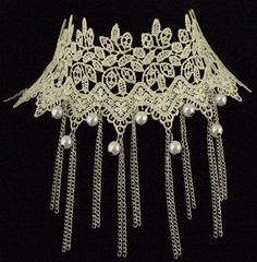 Vintage Style Ivory Lace Choker Necklace with Chain & White Faux Pearls…