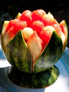 Eat locally. Blog globally.: How to Carve a Watermelon into a Lotus Blossom Serving Bowl