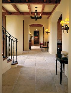 Antique Blond Barre Limestone flooring in stunning pale colors, with rich surface texture. Genuine antique material from the south of France. Flagstone Flooring, Travertine Floors, Limestone Flooring, Tile Flooring, Spanish House, Spanish Style, Style Toscan, Rustic Home Design, Entry Way Design