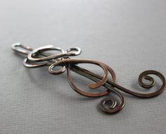 Celtic knot copper infinity hair pin with a swirly by IngoDesign