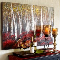 Red Birch Trees Art and wine rack for dining room