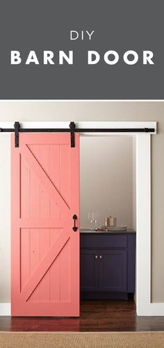 Live the door not the color fresh coat of BEHR Paint in your favorite color to make this easy project fit in with the rest of your home's design style. Home Improvement Projects, Home Projects, Sewing Projects, Home Renovation, Home Remodeling, Ideias Diy, Diy Barn Door, Easy Home Decor, Painted Doors
