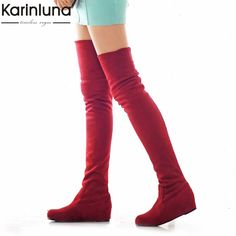 19f0cfedd12 Thigh High Boots Female Winter Boots Women Over the Knee Boots Flat Stretch Sexy  Fashion Shoes 2018 Black 563ikj