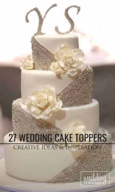 26 Best White Wedding Cake Design for Traditional Wedding - Wedding cake elegant gold - Wedding Cakes Purple Wedding Cakes, Elegant Wedding Cakes, Beautiful Wedding Cakes, Wedding Cake Designs, Wedding Cake Toppers, Beautiful Cakes, Trendy Wedding, Wedding White, Gold Wedding