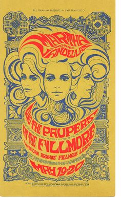 1967 Fillmore concert postcard by Bonnie MacLean - BG64.  Bands Martha and the Vandellas, Paupers.  Beautiful gothic background details by a very talented artist!