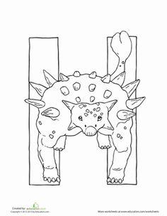 Dino H Dinosaur Coloring PagesAlphabet