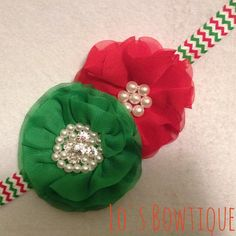 Ahhh!!! It's beginning to look a lot like Christmas!!! Double Christmas Beaded Flower Headband @ Lo's Bowtique on Etsy, $8.50