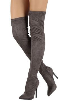 Liliana Suede Pointy Toe Stiletto Over-The-Knee Boots. These over-the-knee boots feature a pointy toe, soft faux suede upper, stitching accents, and stiletto heel. Thigh High Boots, High Heel Boots, Over The Knee Boots, Heeled Boots, Shoe Boots, High Heels, Sexy Heels, Bota Over, Stiletto Boots