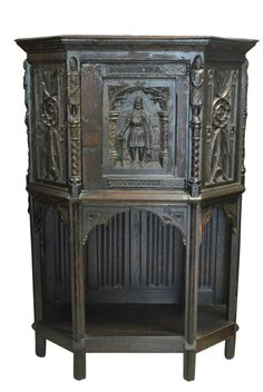 """Antique Hand Carved Oak French Gothic Cupboard Cabinet 59""""H x 42""""W"""