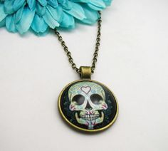 Sugar Skull Necklace  Skull Charm  Bronze Sugar Skull