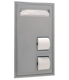 B-34715 Partition-Mounted Seat-Cover Dispenser and Toilet Tissue Dispenser