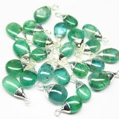 Charm Natural Green Emerald Pear 12mm 925 by jewelsexports on Etsy, $46.80