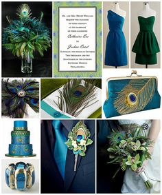 peacock wedding bout. and bouquet