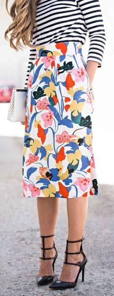 #summer #fashion / pattern print skirt + stripes