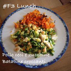 Dieta del supermetabolismo #DSM #pranzo #F3 Fast Metabolism Diet #lunch #F1 #FMD  Pollo, ceci e zucchine con batatatine. Chicken, chick peas and zucchini with sweet potato chips.