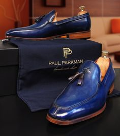 Dress shoes men - Paul Parkman Men's Tassel Loafer Blue Hand Painted Leather Mens Tassel Loafers, Loafers Men, Loafer Shoes, Sharp Dressed Man, Well Dressed Men, Men Dress, Dress Shoes, Men S Shoes, Stylish Men