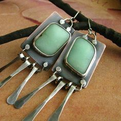 Artisan Earrings  Sterling Silver Copper And by Mocahete on Etsy