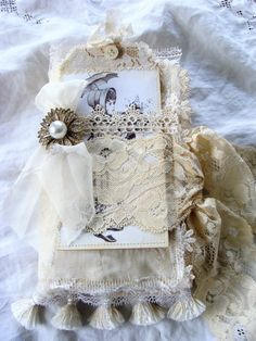 Romantic Fabric and Lace Journal For any Occasion by ShabbySoul