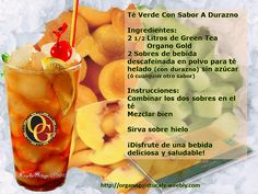 Green Iced Tea With Peach  Ingredients:  10 cups of Green Tea Organo Gold  2 packets of Iced tea decaffeinated Drink mix with peach, sugar free- (or any other flavor)  Instructions:  Combine the two packets of drink mix in the tea   Mix well   Serve over Ic trends of Drink you will like it!