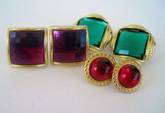 Vintage 90s Jewel Tone Earrings Set from Floralecstacy on Etsy, $5.25