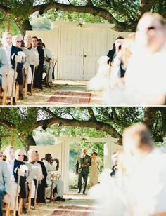 Door in outdoor wedding. I love this idea...keep the first look until the last minute!