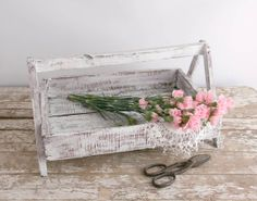 Vintage Wooden Garden Caddy upcycled shabby by TheHeirloomShoppe, $34.00