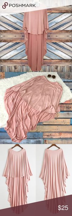 "Dusty Pink Raw Edge Batwing Poncho Dressy-casual, raw edge, high low, asymmetric hem, cotton / polyester / spandex, poncho blouse.   New. Size is 2XL.   Bust: 38""  Front L: 24"" Back L: 49.5"" Sleeve: 23.5""  • No Trades • Tops"
