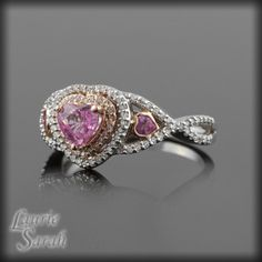 Pink Sapphire and Diamond Ring, pink wedding, engagement ring halo, double halo, rings- LS2525 White gold engagement rings