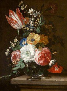 Nicolaes van Verendael (1640-1691) — Still Life with Flowers  (591x800)