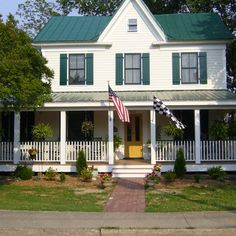 White farmhouse on pinterest exterior shutters stained - White house green trim ...