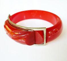 Vintage Bakelite Bracelet Red Chrome Buckle Hinged Bangle by zephyrvintage, $249.00