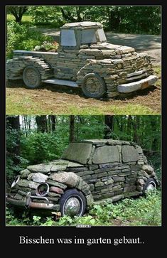 We've all seen those pictures of old vintage cars and trucks that were left out in a forest and they slowly got swallowed up by nature. Well, someone loved the look of these old nature-owned vehicles . Old Vintage Cars, Garden Arbor, Decoration Originale, Unique Gardens, Inspired Homes, Stone Art, Yard Art, Backyard Landscaping, The Great Outdoors